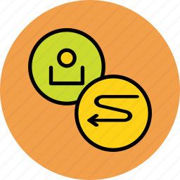account, backward, demote, employee, reverse, status, user icon