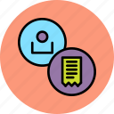 account, bill, customer, employee, invoice, statement, user icon