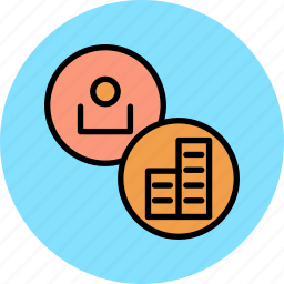 account, banking, building, corporate, investment, user icon