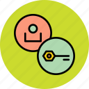 account, employee, encryption, key, password, safety, user icon