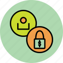 access, account, employee, funds, lock, seize, user icon