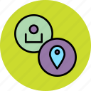 account, employee, location, place, region, settings, user icon