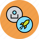 account, fast, rocket, sales, speed, super, user icon