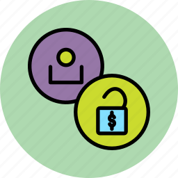 account, allow, employee, funds, release, unlock, user icon