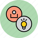 account, bulb, customer, idea, light, profile, user icon