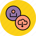 account, cloud, customer, details, download, profile, user icon