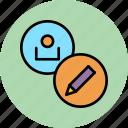 account, customer, edit, modify, pencil, profile, user icon