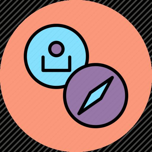 account, compass, customer, direction, navigation, profile, user icon