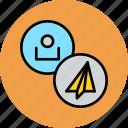 account, attachment, customer, paper, plane, profile, user icon
