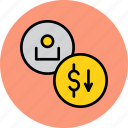 account, balance, customer, decrease, dollar, user, value icon