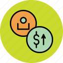 account, balance, customer, dollar, increase, user, value icon