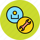 account, customer, employee, options, preference, settings, user icon