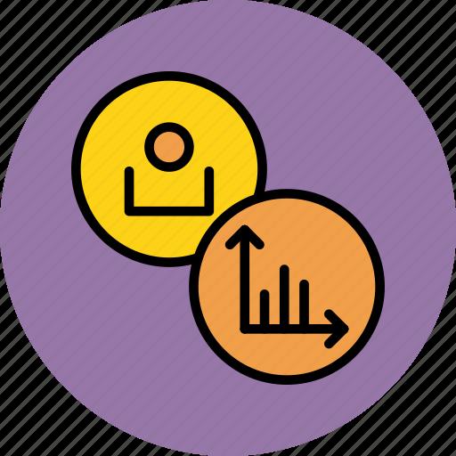 account, analysis, customer, employee, graph, stats, user icon