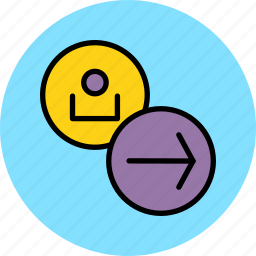 account, arrow, customer, forward, navigation, next, user icon