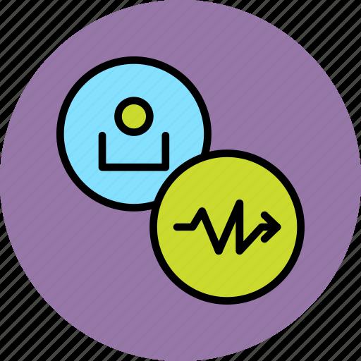 account, activity, arrow, customer, graph, profile, user icon
