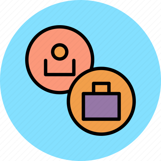 account, briefcase, customer, profile, suitcase, travel, user icon
