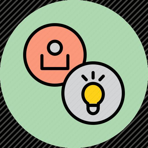 account, bulb, customer, idea, light, profile, user icon