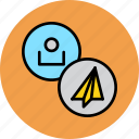 account, attachment, customer, paper, plane, profile, user icon