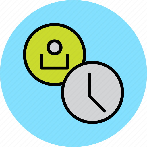 account, clock, customer, profile, schedule, time, user icon