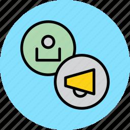 account, customer, marketing, promotion, speaker, user, voice icon