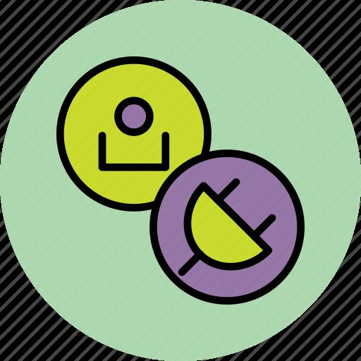 account, charge, connect, customer, employee, plug, user icon