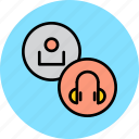 customer, device, headphone, headset, multimedia, music, user icon