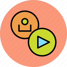 account, customer, multimedia, play, proceed, start, user icon