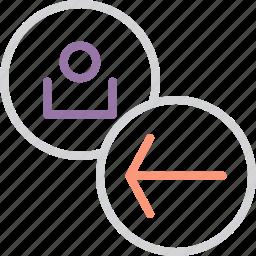 account, arrow, back, backward, customer, navigation, user icon