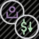 account, balance, customer, decrease, dollar, user, value icon