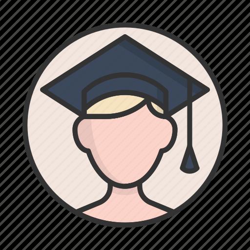 account, avatar, boy, graduate, person, profile, user icon