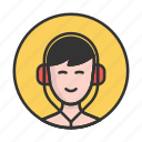 account, avatar, boy, headphones, person, profile, user icon