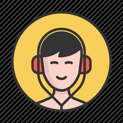 account, avatar, boy, headphones, person, profile, user icon