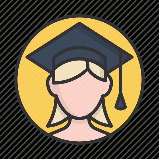 account, avatar, girl, graduate, person, profile, user icon