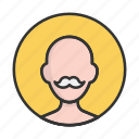 account, avatar, grandfather, mustache, person, profile, user icon