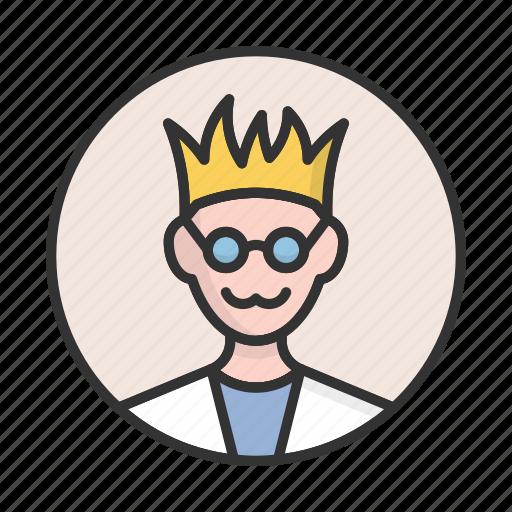 account, avatar, geek, person, profile, scientist, user icon
