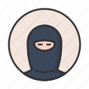 account, avatar, muslim, ninja, profile, user, woman icon