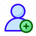 add, new, user icon