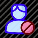 block, locked, male, user icon