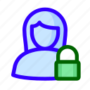 female, locked, padlock, user icon