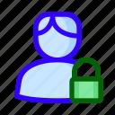 locked, male, padlock, user icon