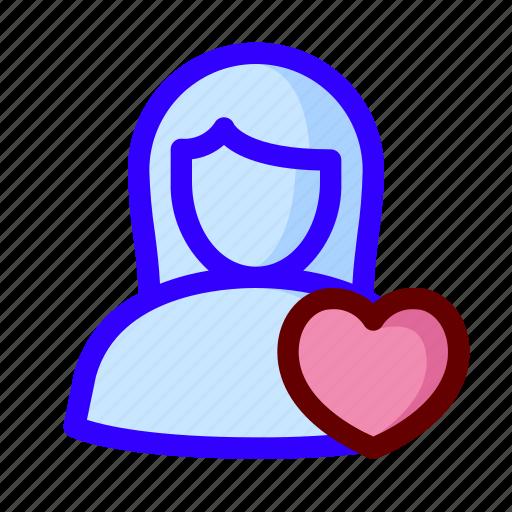 favorite, female, love, user icon