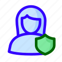female, protected, shield, user icon