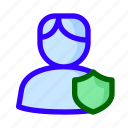 male, protected, shield, user icon