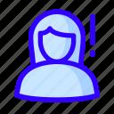 female, notification, user, warning icon
