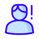 male, notification, user, warning icon