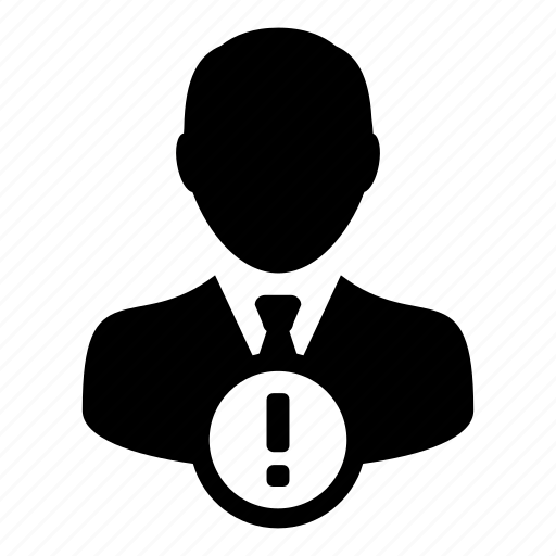account, alert, man, user, warning icon