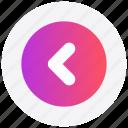 arrow, circle, forward, interface, left, user icon