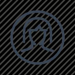 account, avatar, profile, user, woman icon
