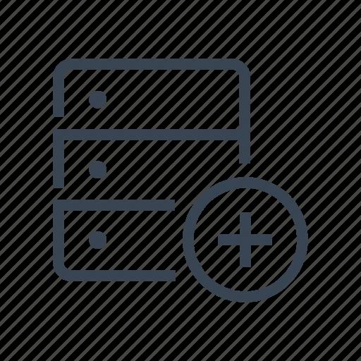 add, data, database, new, server, storage icon