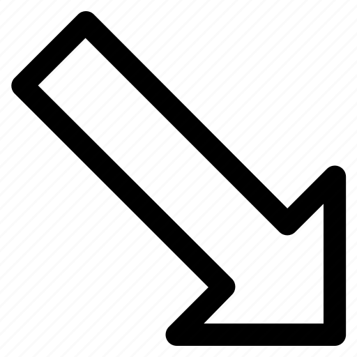 arrow, arrow down, bottom right corner, diagonal, right icon